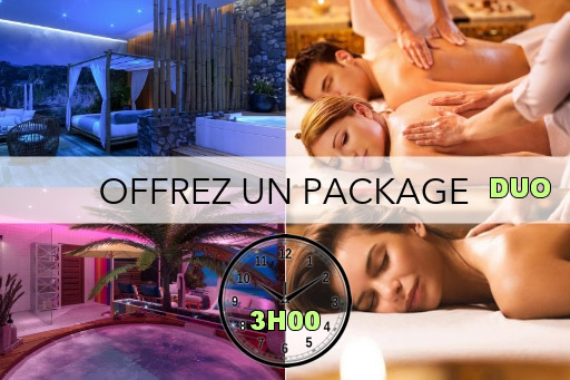 Bon cadeau - Pack SPA privatif 3H00 + Massage en duo 1H00